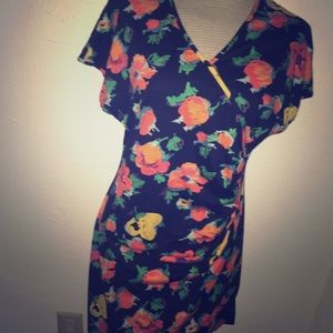 Emanuel ungaro VTG 90's floral ruched dress L